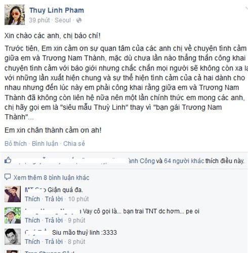 Chân dài Thùy Linh tiết lộ lý do chia tay Trương Nam Thành